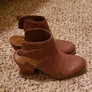 Brown wedge ankle bootie